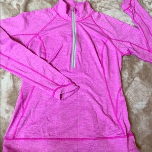 Lucy Halfzip Athletic Top Pink ,Coin Pocket S P